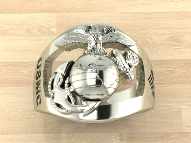 Custom Sterling USMC Ring - Made in the USA