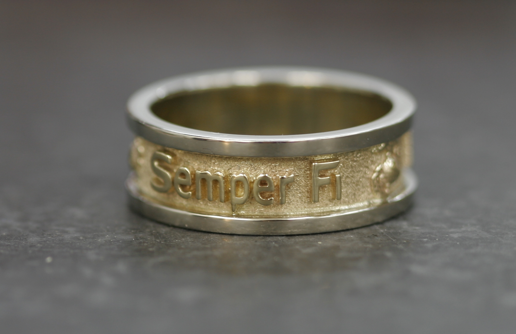 Gold Marine Corps Wedding Band Made in the USA